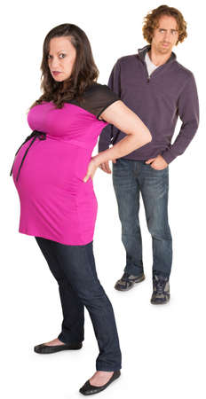 suspicious man: Angry pregnant woman with suspicious man on white background