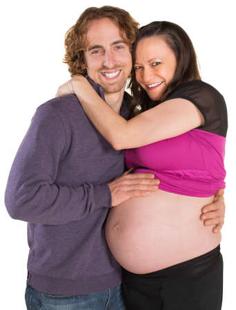 Joyful expecting parents over isolated white background Stock Photo - 19242539