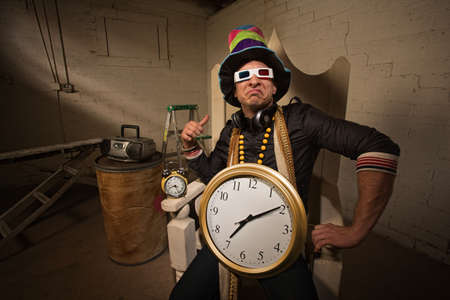 Pouting rapper in throne with large hat and clock Stock Photo - 19242556