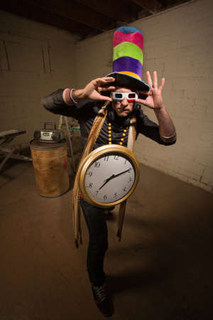 Man with 3D glasses tall hat and large clock Stock Photo - 19242558
