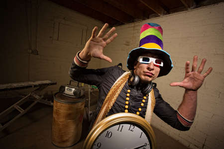 Musician with large hat and 3D glasses indoors Stock Photo - 19242559