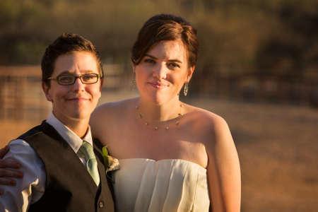 nude lesbian: Smiling same sex couple at civil union