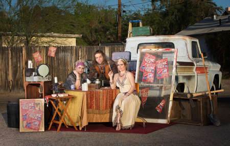 fortune teller: Gypsy travellers with fortune telling stand outside