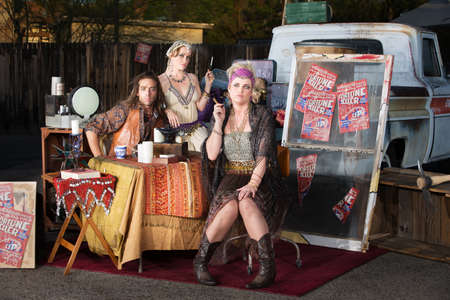soothsayer: Gypsy travellers with truck and table outside Stock Photo