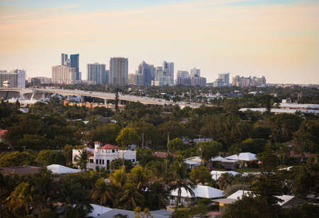 fort lauderdale: Fort Lauderdale Skyline with Traffic Bridge and City Detail Stock Photo