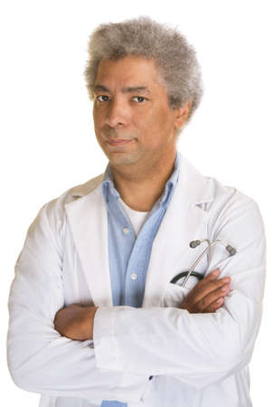 Annoyed mature doctor with arms folded on isolated background