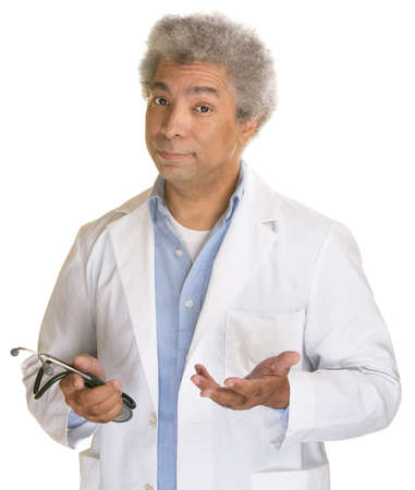 reasonable: Hispanic doctor with stethoscope and palms up