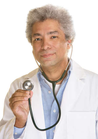 Grinning doctor with stethoscope on white background Stock Photo - 21305408