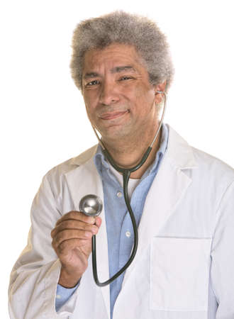 wincing: Isolated wincing mature medical doctor using stethoscope Stock Photo