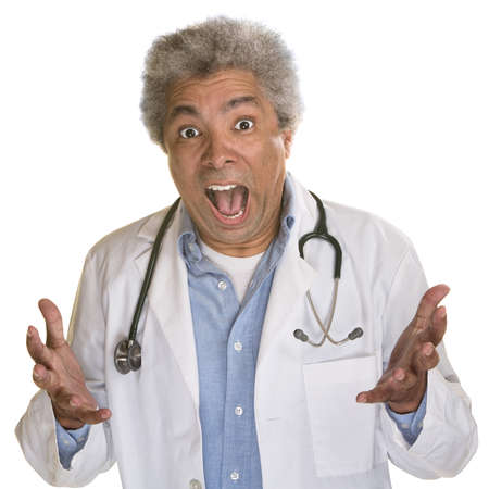 outraged: Screaming medical doctor with hands out on white background