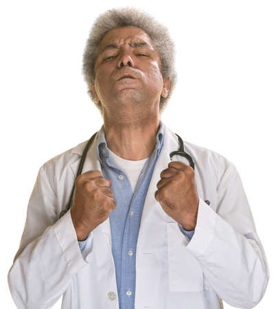 aggravated: Aggravated middle aged doctor with clenched fists Stock Photo