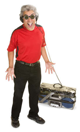 Excited Black man with old portable tape deck and headphones photo
