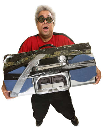 Exhausted Hispanic man with heavy portable radio photo