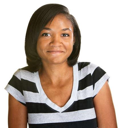 blushing: Cute blushing young African female in striped shirt