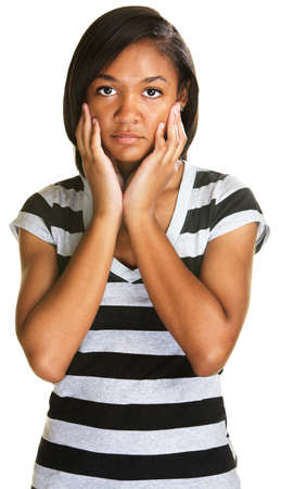 black out: Depressed teenage girl in stripes over white background Stock Photo
