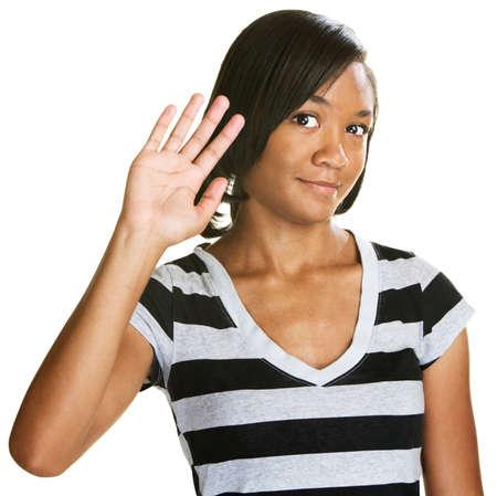 Single cute teenage female waving her hand