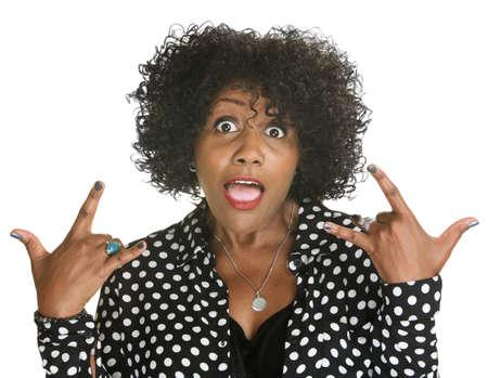talkative: Talkative middle aged woman in polka dots