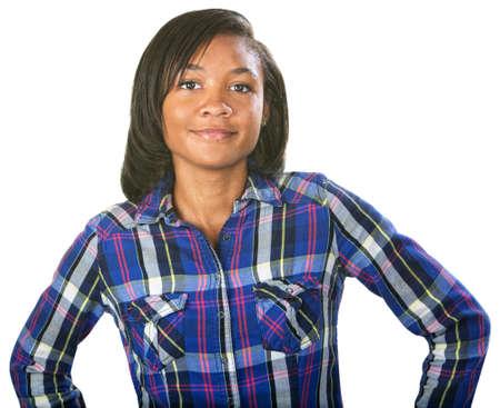flannel: Glad single teenage female in flannel shirt