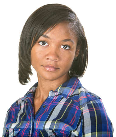 unimpressed: Unimpressed African female in flannel shirt over isolated background