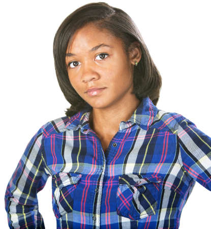 cynical: Doubting young woman in flannel shirt over isolated background