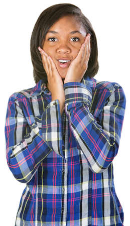 flannel: Astonished young person e in flannel shirt over isolated background