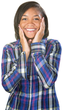 Flattered teen African female in flannel shirt photo