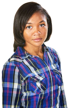 flannel: Pretty African female in flannel shirt over isolated background