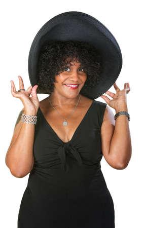 przewymiarowany: Śliczne zaszczycony Hiszpanie kobieta kapelusz ponadgabarytowych