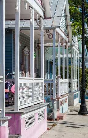 Detail of colorful homes in Key West, Florida photo