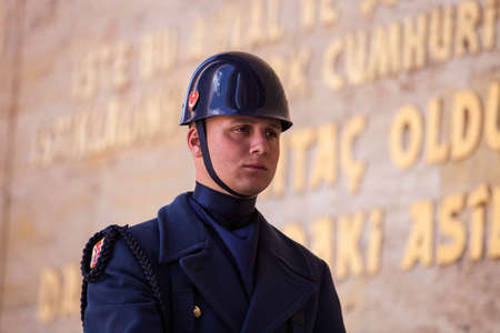 ANKARA, TURKEY – APRIL 15: Turkish guard at Mausoleum of Mustafa Kemal Atatürk, the leader of the Turkish War of Independence on April 15, 2012 in Ankara, Turkey prior to Anzac Day.  Turkish people thank and remember allies from Australia and New Zeala Editorial