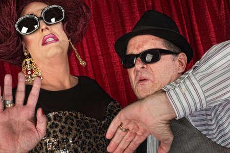 mismatch: Famous 1960s retro style couple in sunglasses