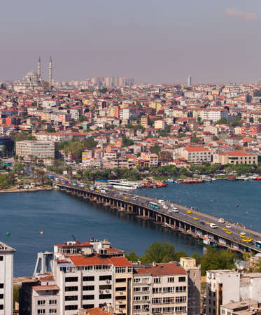anzac bridge: ISTANBUL, TURKEY – APRIL 28: The Ataturk Bridge over the Bosphorus on April 28, 2012 in Istanbul, Turkey prior to Anzac Day.  The Bosphorus divides Turkey between Europe and Asia.