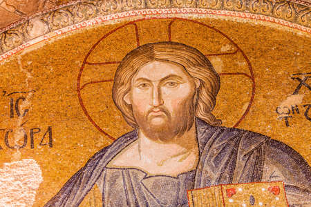 Jesus Mosaic in Istanbul Chora Church Editorial