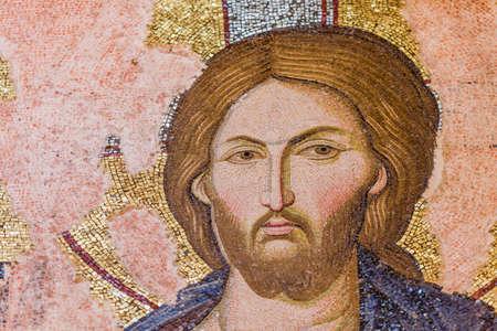 chora: Mosaico de Jes�s en Estambul Iglesia de Chora Foto de archivo
