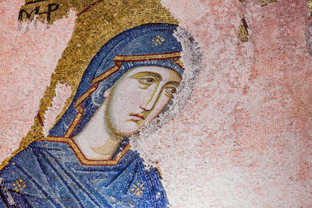 Mary Mosaic at Chora Church in Istanbul Stock Photo