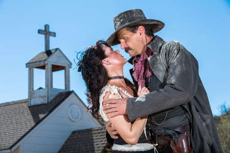 lawman: Romantic Old West Man and Woman Embrace