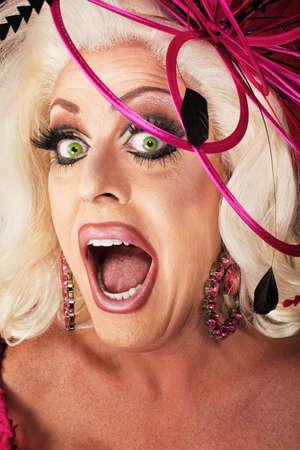 drag queen: Singing beautiful Caucasian drag queen close up