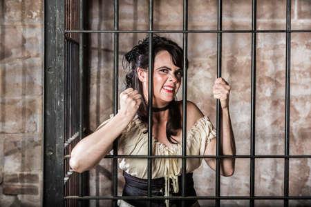jailed: Portrait of a Sneering Female Prisoner in the Oldwest