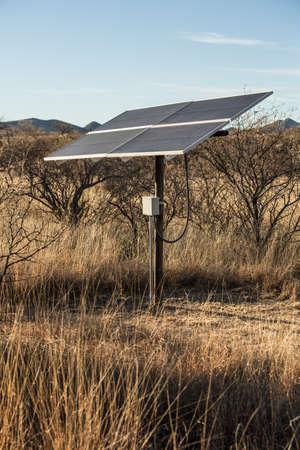 Small Solar Panel in Desert Setting