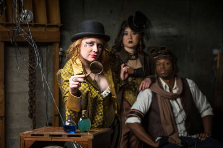 anachronistic: Three Steampunks with in Retro Lab with Potions