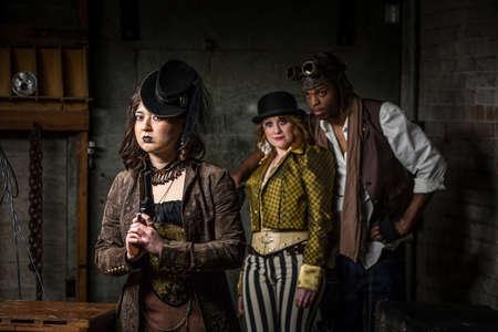 Three Steampunks with in Underground Retro Lab