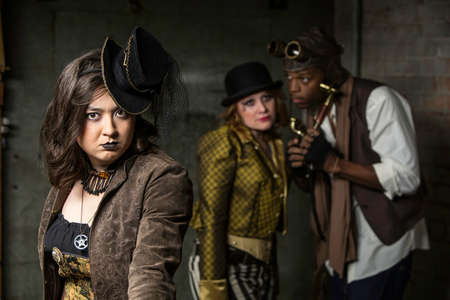 anachronistic: Young Steam Punks PosIng in Underground Lair