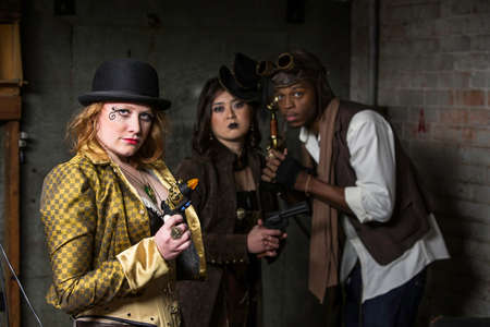 anachronistic: Steam Punks in Underground Lair with Weapons