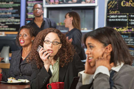 talkative: Upset customers in cafe with loud woman on phone