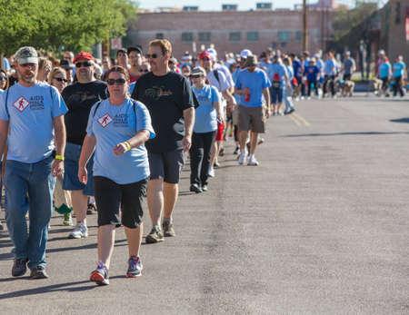 TUCSON, AZ/USA - OCTOBER 12: Unidentified participants in AIDSwalk on October 12, 2014 in Tucson, Arizona, USA.