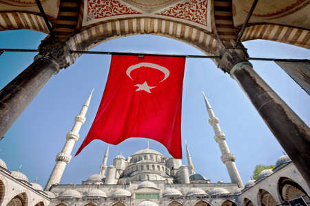 turkish flag: Turkish Flag at the Blue Mosque in Istanbul