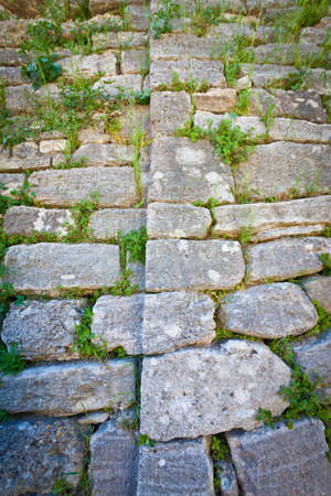 troya: Detail of stones in acropolis wall at Troy in Turkey