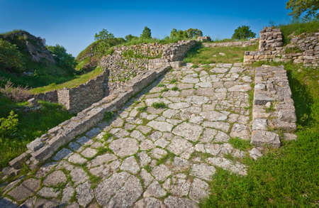 Roadway atop acropolis wall at Troy in Turkey Stock Photo