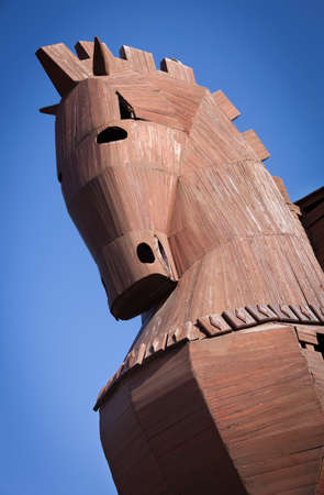Head of Reconstructed Trojan Horse at Troy in Turkey Stok Fotoğraf