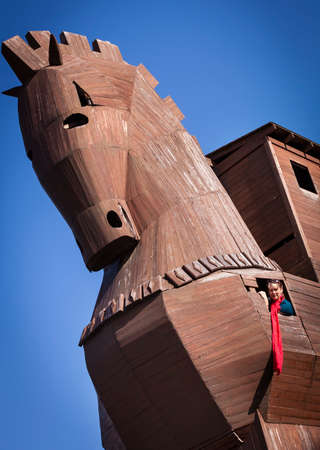 reconstructed: Woman Inside of Reconstructed Trojan Horse at Troy in Turkey